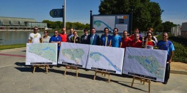 (5/6/2017) Más de 13,2 kilómetros señalizados en los primeros cuatro circuitos de running municipales en parques y Río Guadalquivir