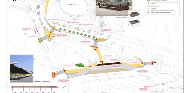 (8/9/2017) El Ayuntamiento y CaixaBank acuerdan la reurbanización, la reordenación de itinerarios peatonales y ciclistas y la mejora del transporte público en el entorno del Acceso  Sur al complejo de Torre Sevilla