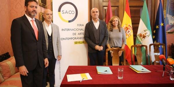 Ayuntamiento y FIBES sellan una colaboración público-privada con los promotores de la Feria Internacional de Arte Contemporáneo, SACO, para impulsarla y fortalecer al sector de las galerías y el coleccionismo