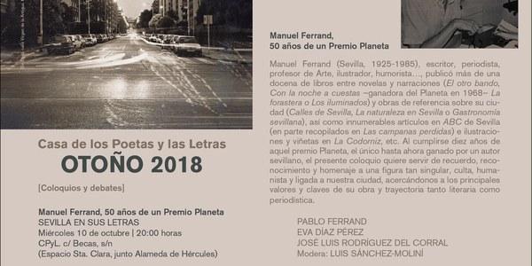 La Casa de los Poetas y las Letras homenajea a Manuel Ferrand por los 50 años de su Premio Planeta