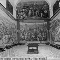 Real Alcázar. Sala de los tapices del Palacio gótico. 1929-1931 ©ICAS-SAHP. Fototeca Municipal de Sevilla, fondo Serrano