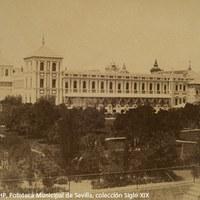 1. F. de Leygonier. El palacio de San Telmo desde los jardines. 1860 ca. ©ICAS-SAHP, Fototeca Municipal de Sevilla, colección Siglo XIX