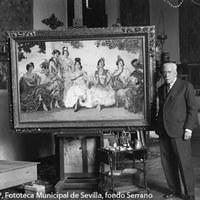 3.- Gonzalo Bilbao posa en su estudio junto a una de sus obras. El estudio del pintor estaba situado en su domicilio particular, en la actual calle que lleva su nombre, esquina a Amador de los Ríos. 1932. ©ICAS-SAHP, Fototeca Municipal de Sevilla, fondo Serrano