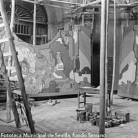 2.- Estudio in situ de Gustavo Bacarisas en el Salón de la Industria del Pabellón de Argentina. Bacarisas fue el autor del cartel oficial de la Exposición Iberoamericana de 1929, de estilo modernista. 1928 ©ICAS-SAHP, Fototeca Municipal de Sevilla, fondo Serrano