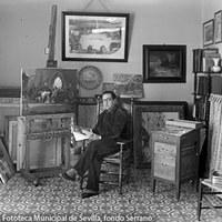 14 - Formado en la Escuela de Artes y Oficios de Sevilla,  entre 1931 a 1936 trasladó su residencia a la capital de España para trabajar como ilustrador de varios periódicos madrileños. 1932 ©ICAS-SAHP, Fototeca Municipal de Sevilla, fondo Serrano