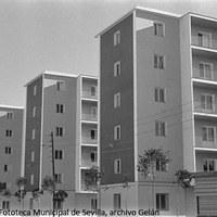 6. Vista de los nuevos edificios de la barriada de Pío XII en la fecha de su inauguración. Bloques de viviendas de seis plantas. Noviembre de 1958 ©ICAS-SAHP, Fototeca Municipal de Sevilla, archivo Gelán