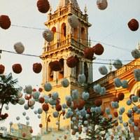 6. Velá de Santiago y Señá Santa Ana. 1991. Cartel. Firma: Jorge Sánchez Payán ©ICAS-SAHP, Archivo Municipal de Sevilla