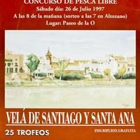 12. Velá de Santiago y Santa Ana. Pesca: concurso de pesca libre. 1997. Cartel. Firma: J. Romero ©ICAS-SAHP, Archivo Municipal de Sevilla