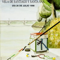 14. Velá de Santiago y Santa Ana. Pesca: concurso de pesca libre. 1998. Cartel. Firma: J. Romero ©ICAS-SAHP, Archivo Municipal de Sevilla