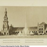 Pabellón de España en la Exposición Iberoamericana. Fuente central y torre Norte. 1929 ©ICAS-SAHP, Fototeca Municipal de Sevilla. Álbum Dücker