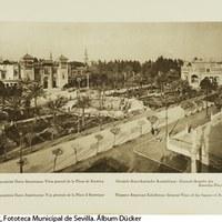 Vista general de La Plaza de América en el Parque de María Luisa, inaugurada el 25 de abril de 1916. 1929 ©ICAS-SAHP, Fototeca Municipal de Sevilla. Álbum Dücker