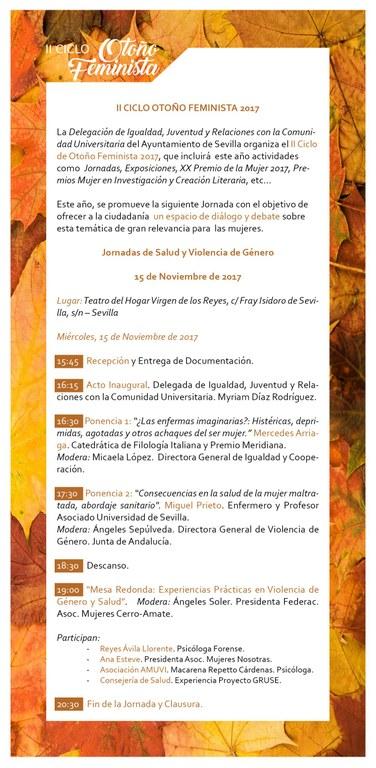 Programa Jornada 15 Noviembre Salud y Violencia de Género